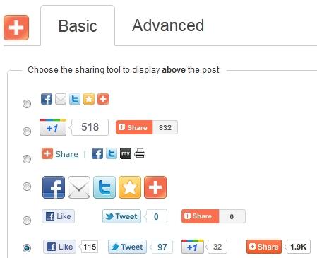 social media deel en like buttons